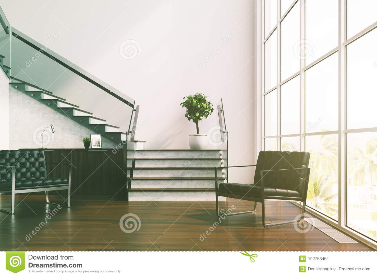 White Living Room, Stairs, Armchairs Toned Stock Illustration ...