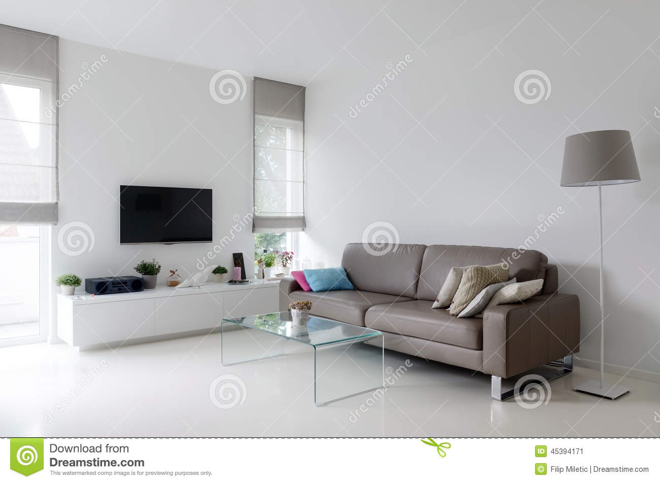 White Living Room With Taupe Sofa Stock Image - Image of home ...