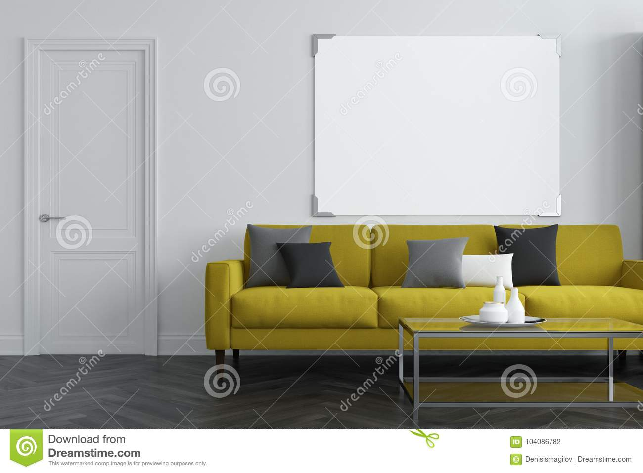 White living room interior with a concrete floor a long green sofa with colored cushions on it and a coffee table a horizontal poster 3d rendering mock