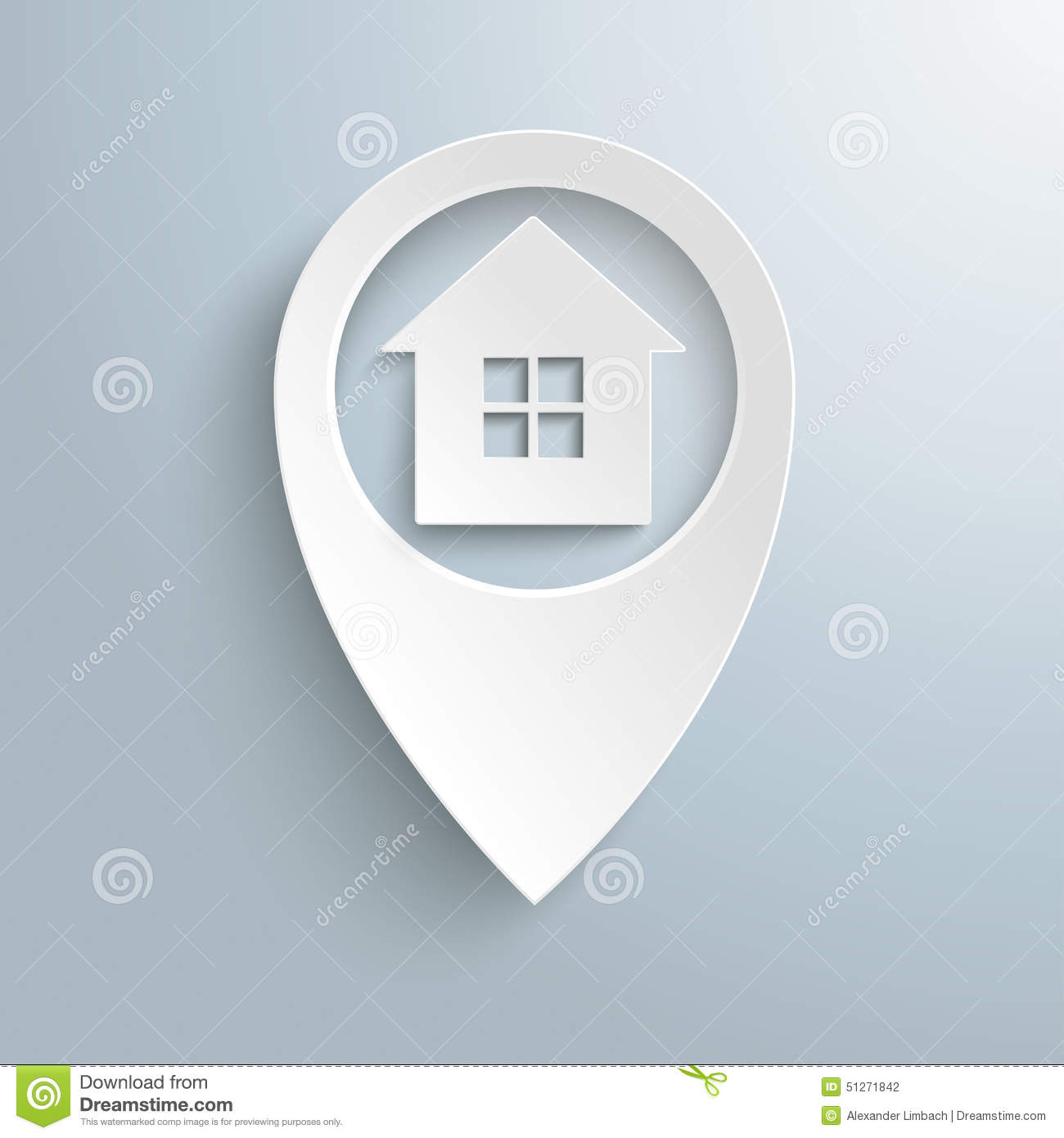 White Location Marker House 4 Window Stock Vector
