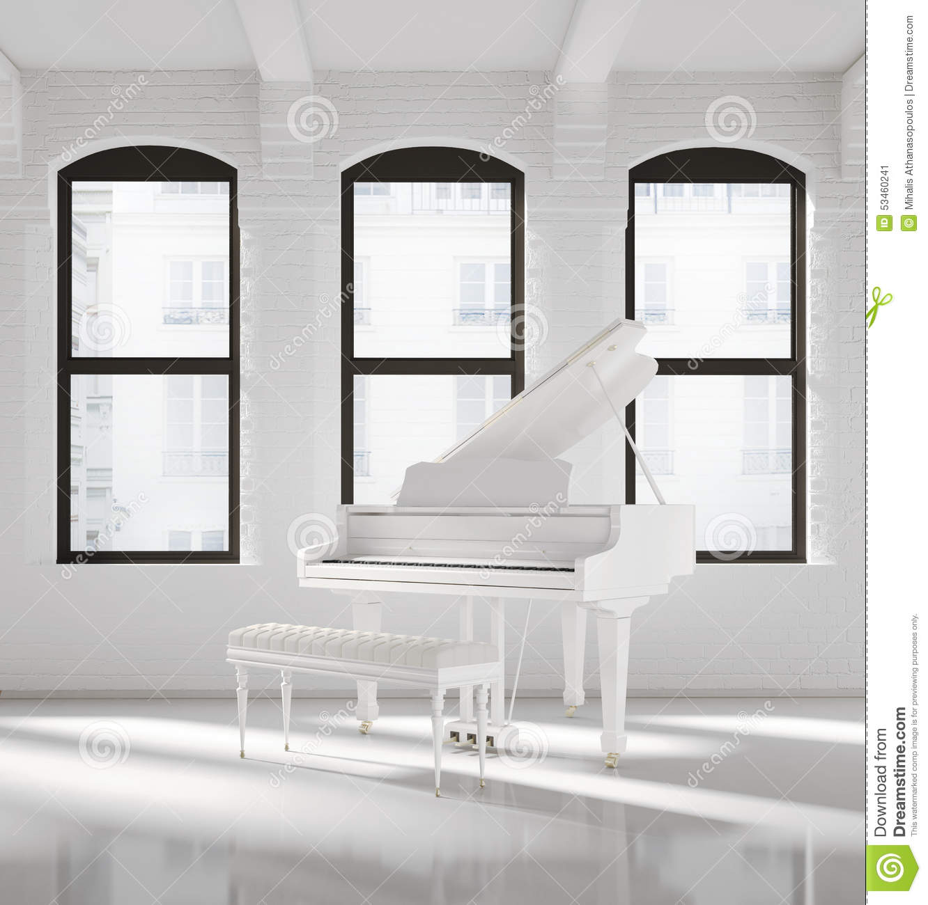 White Loft Interior Stock Photo Image 45779702