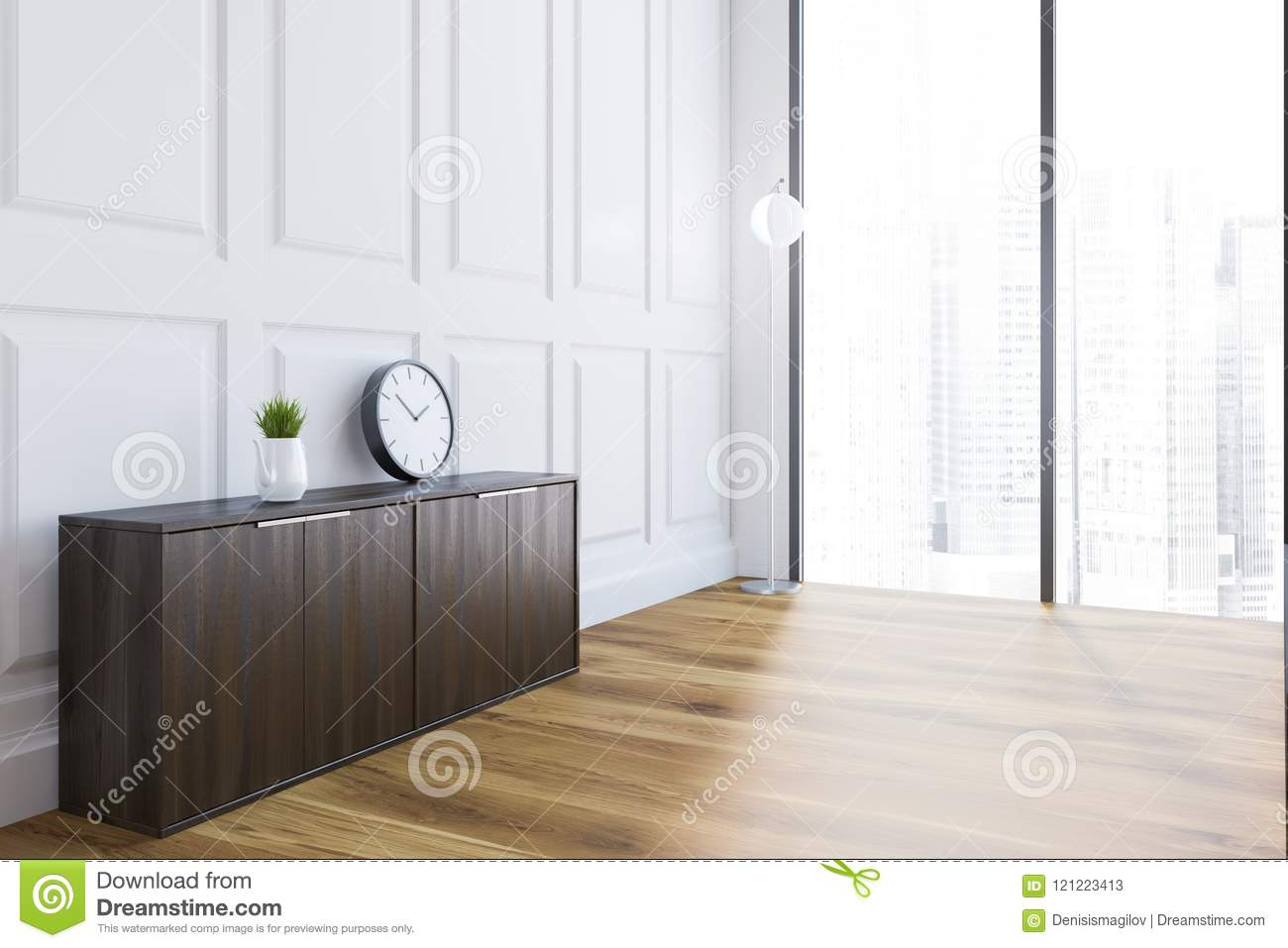 White Loft Living Room Interior With A Wooden Floor, A Dark Wooden Cabinet  With A Clock On It And A Panoramic Window. 3d Rendering Mock Up