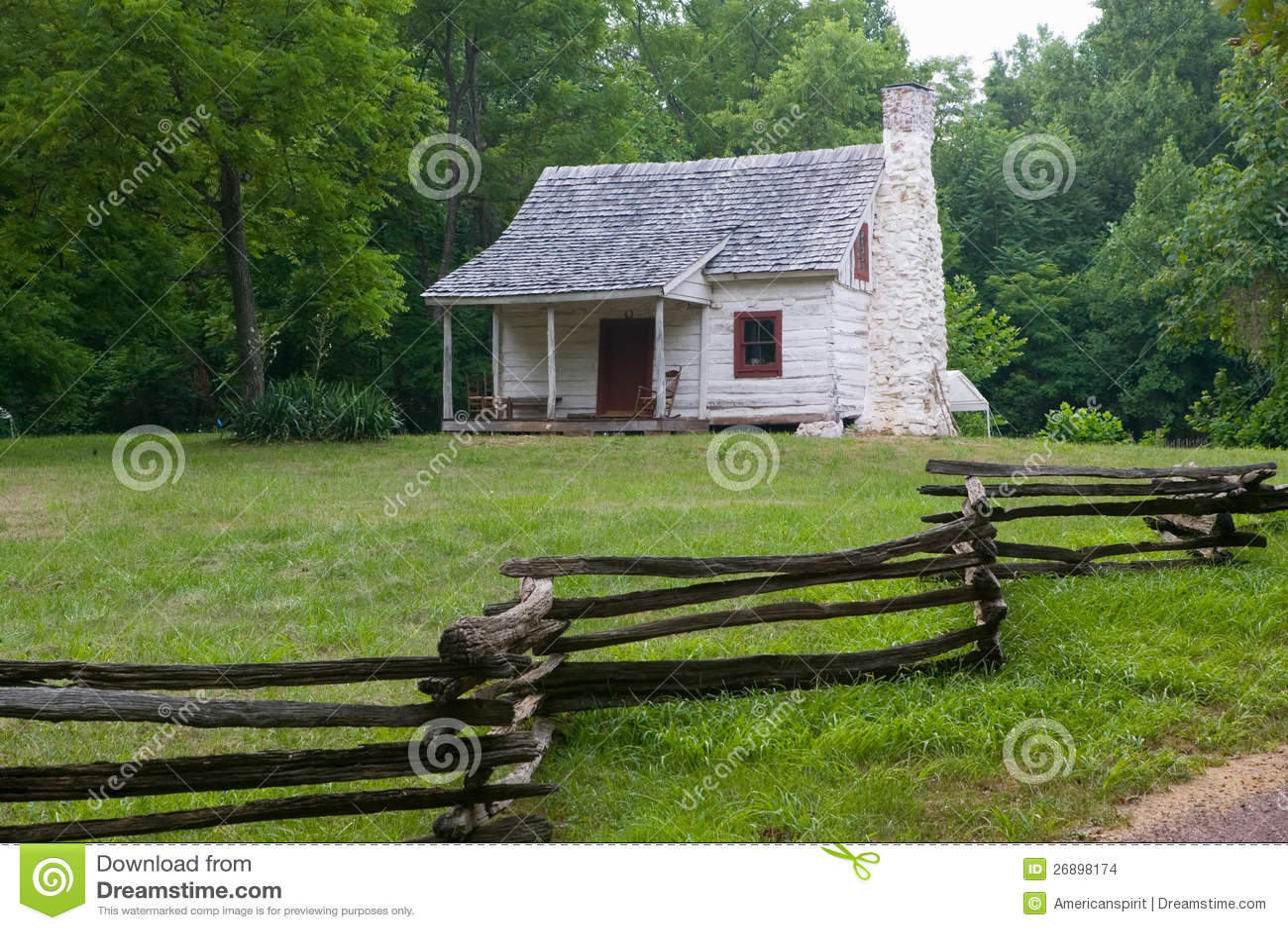 White Log Cabin Stock Images Image 26898174