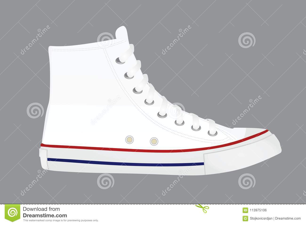 White canvas shoes stock vector