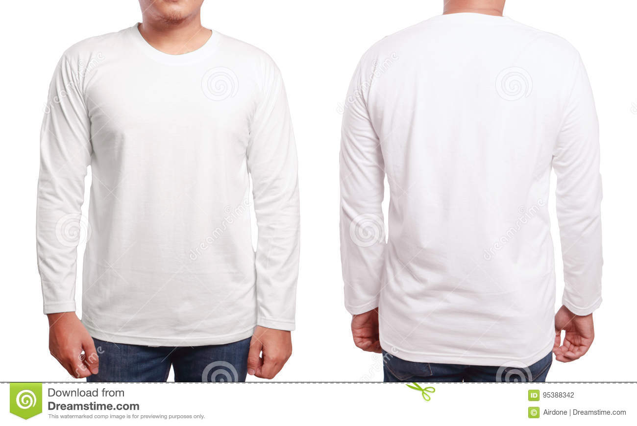 White Long Sleeved Shirt Design Template Stock Photo Image Of