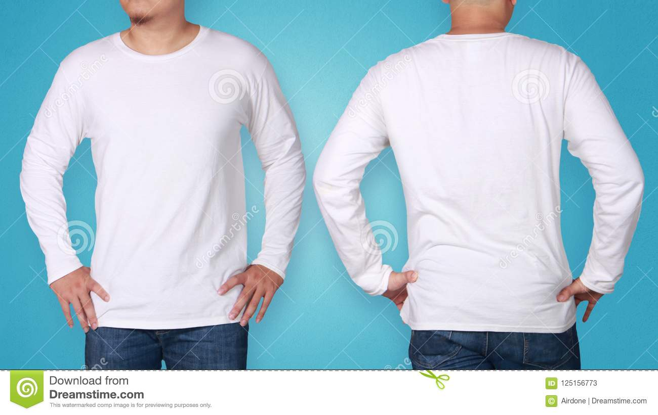 98be503176c7 White Long Sleeved Shirt Design Template Stock Image - Image of ...