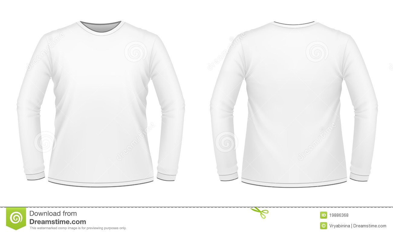 White long sleeved t shirt stock illustration for What is a long sleeve t shirt