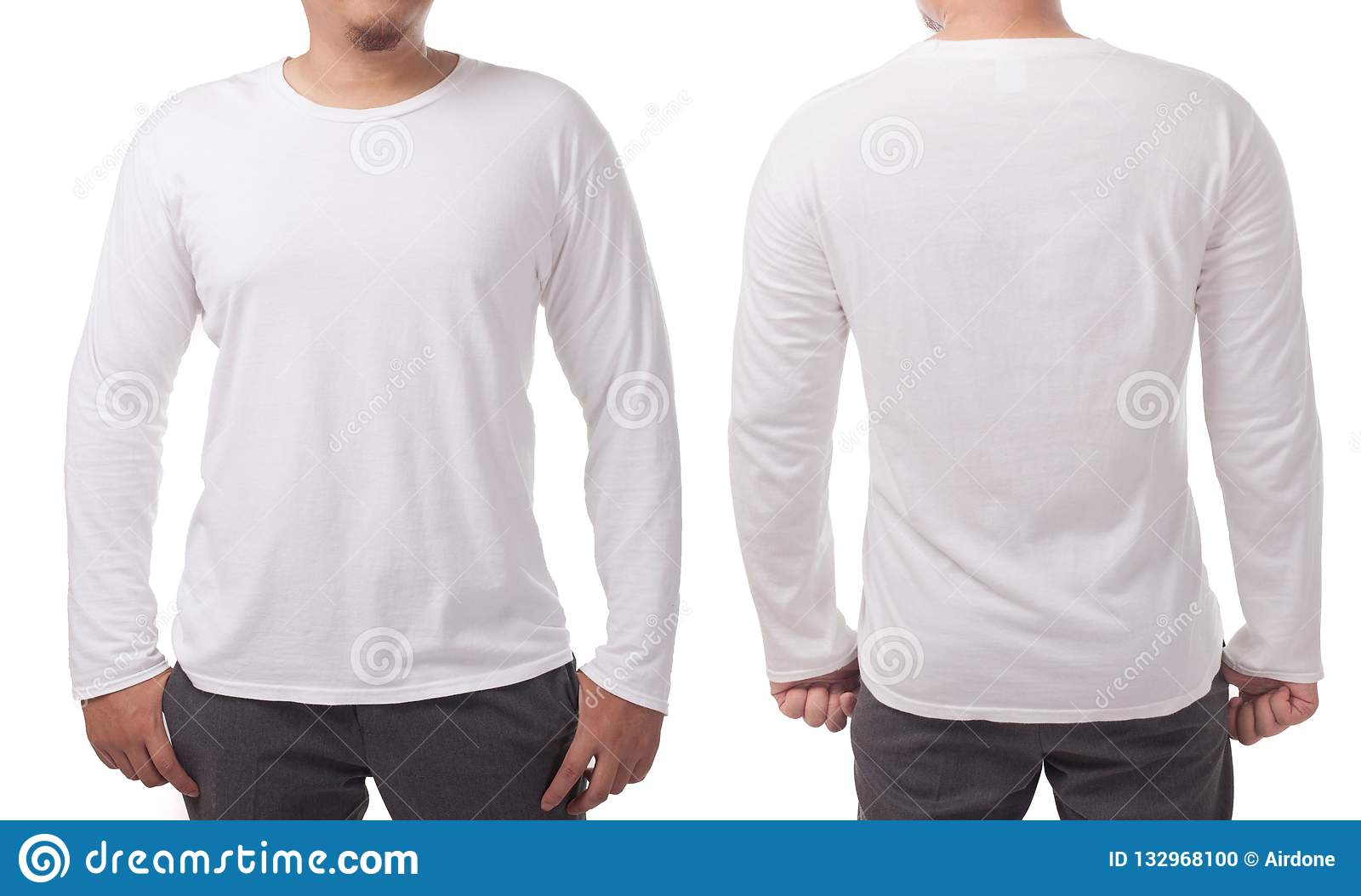 763f29d61359 White Long Sleeved Shirt Design Template Stock Photo - Image of ...