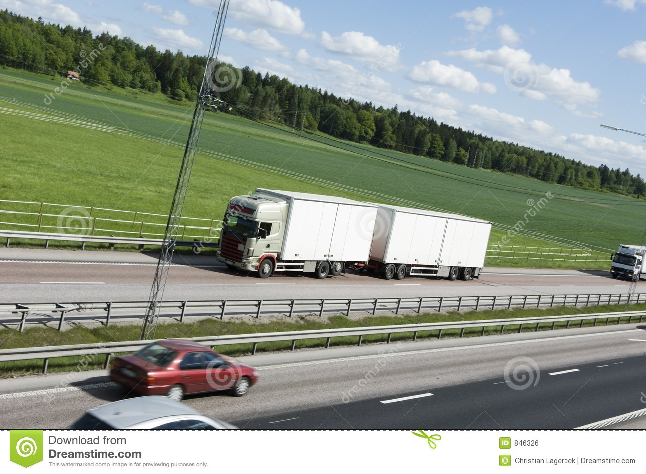 White lorry in countryside