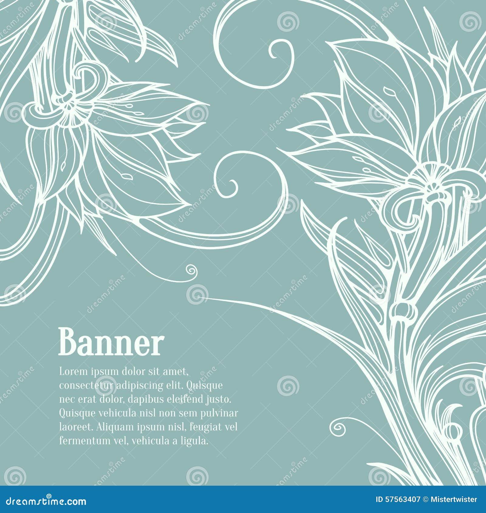 Line Art Design Background : White lotus flowers on blue background hand stock vector
