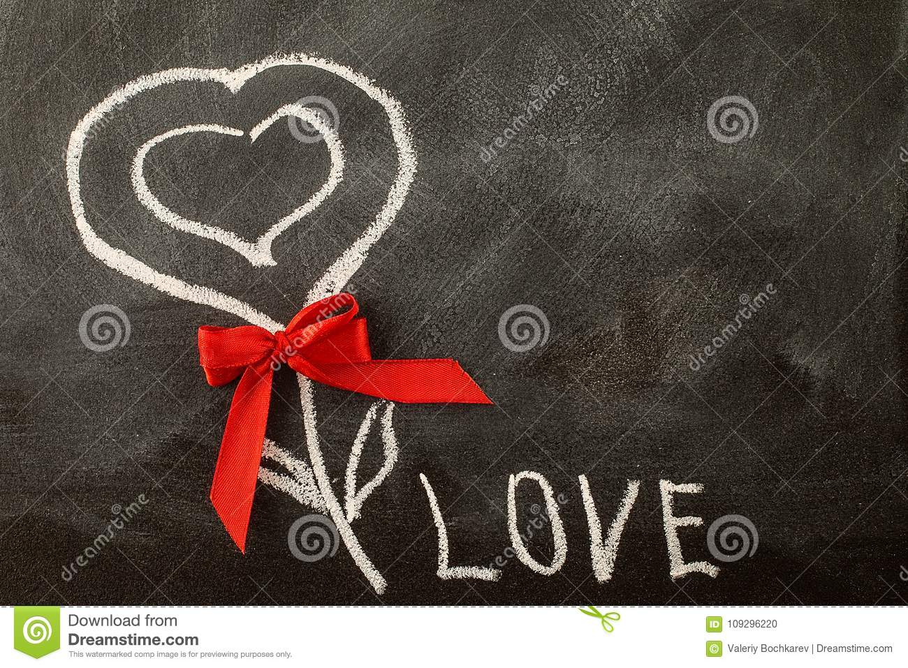 White Love Greeting Message With Heart Symbol On Blackboard Stock