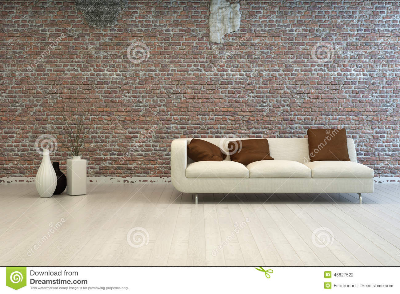 Picture of: White Love Seat With Brown Pillows At Living Room Stock Illustration Illustration Of Copyspace Background 46827522