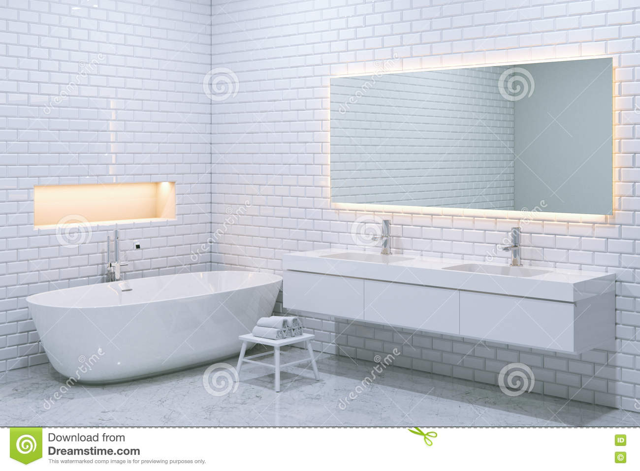white luxury bathroom interior with brick walls. 3d render. stock