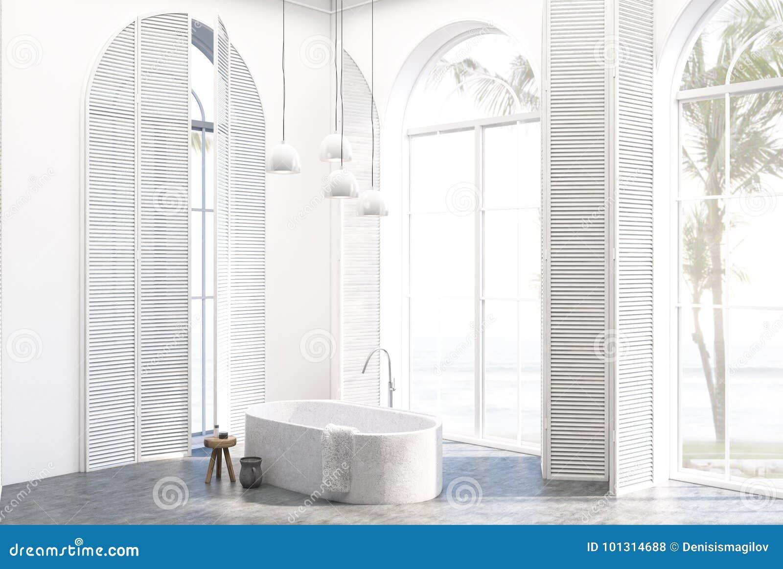 White Luxury Bathroom Interior Corner Stock Illustration - Bathroom shutters interior