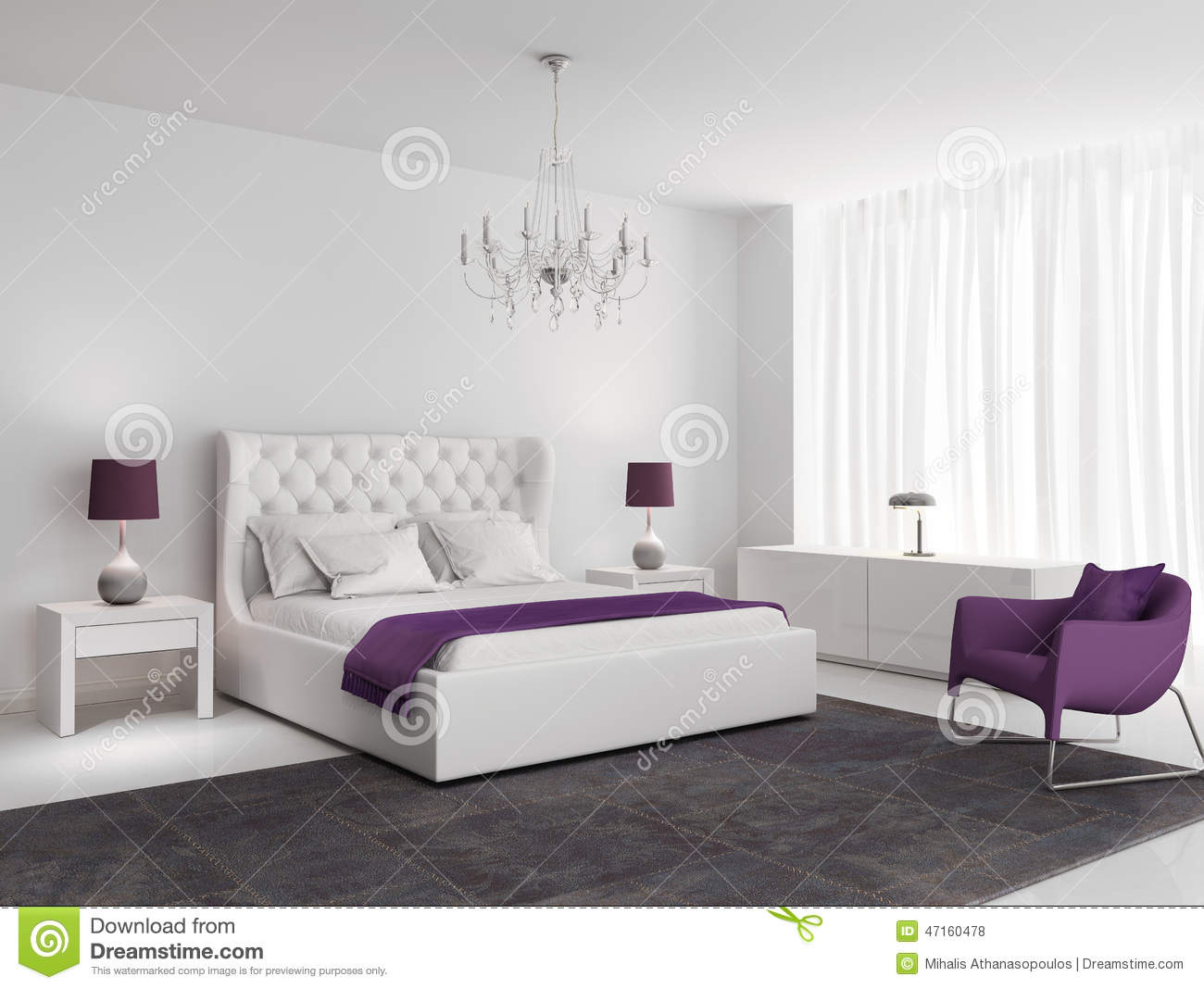 White luxury bedroom with purple armchair stock photo for Modele de chambre deco