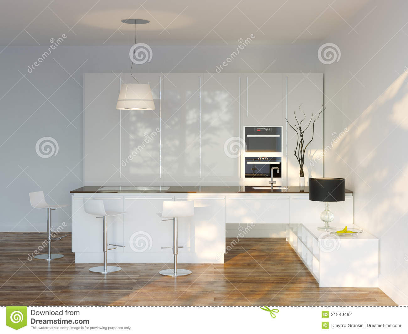 White Luxury Hi Tech Kitchen With Bar Front View Stock