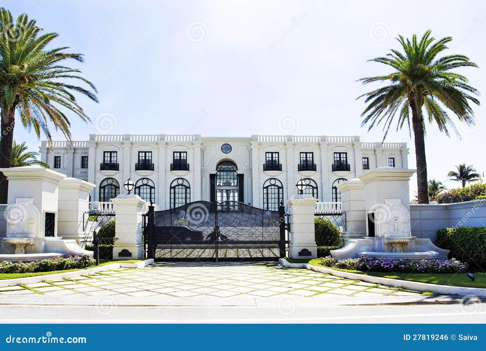 Spanish Villa Style Homes White Luxury House Royalty Free Stock Image Image 27819246