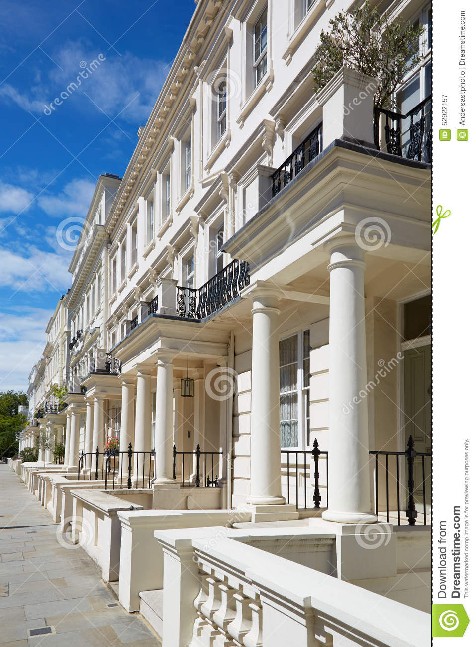White luxury houses facades in london stock photo image for Luxury homes in london