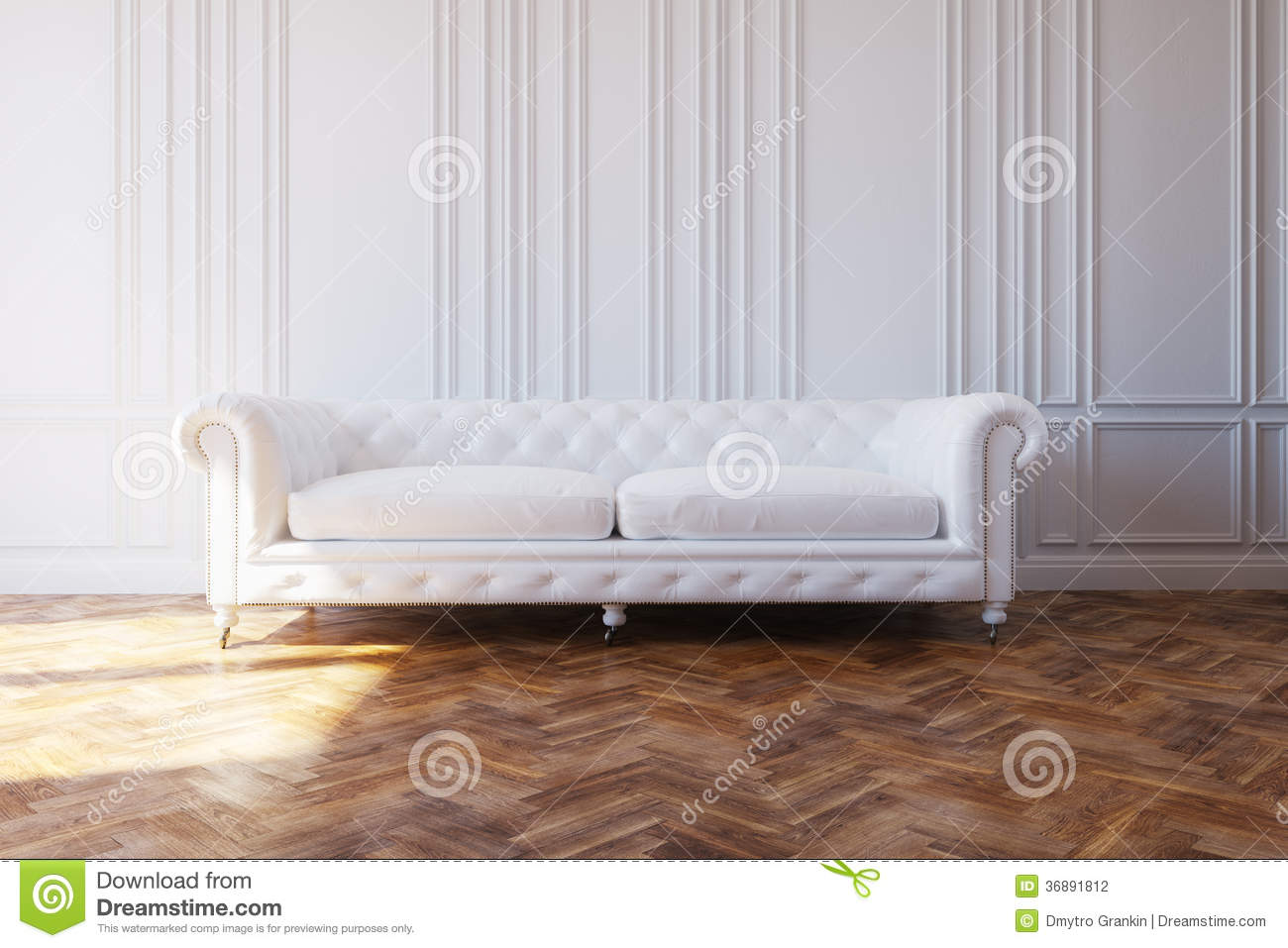 white luxury leather sofa in classic design interior stock