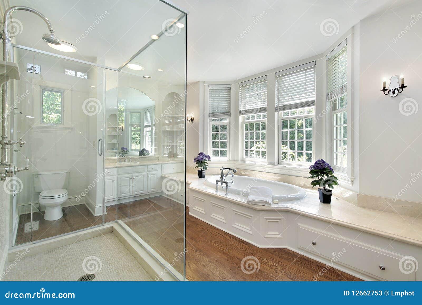 White luxury master bath stock image. Image of upscale - 12662753