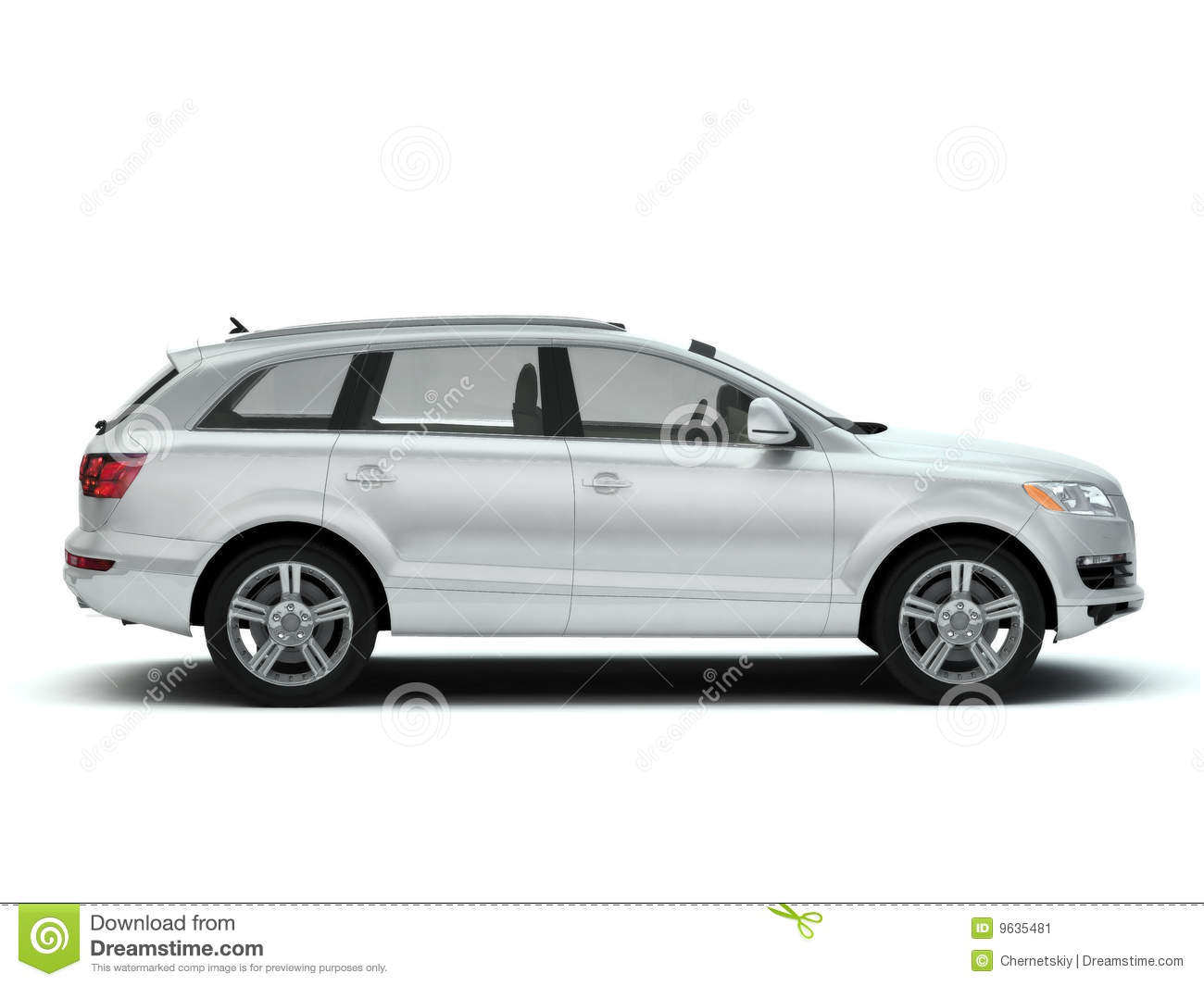 White Luxury Suv Side View Stock Image Image 9635481