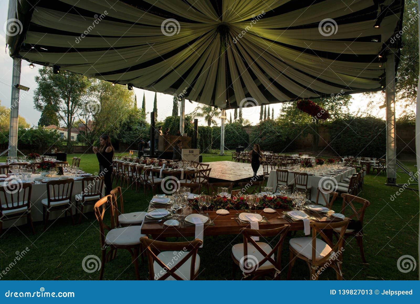 White Luxury Wedding Tent Decorated Awning At Elegant Wedding