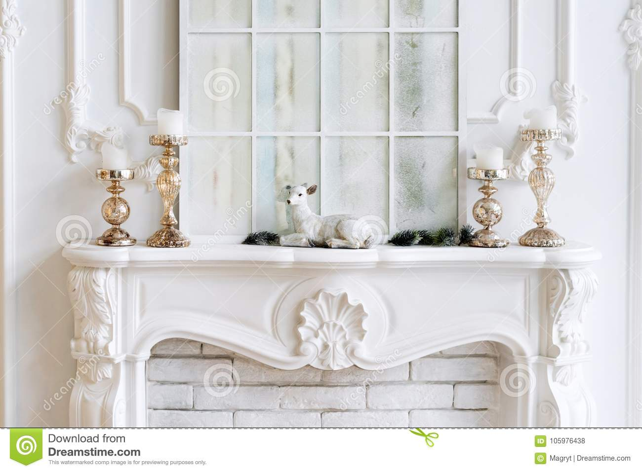 download white mantelpiece with candles and christmas decorations classic interior stock photo image