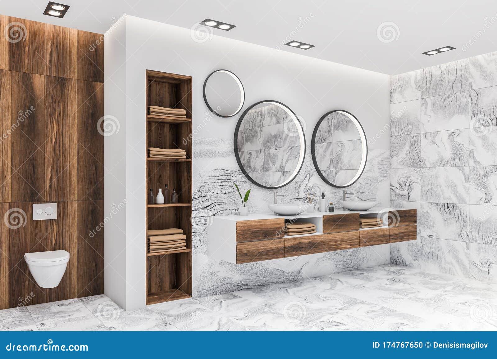 White Marble Bathroom Corner Sink And Toilet Stock Illustration Illustration Of Basin Elegance 174767650