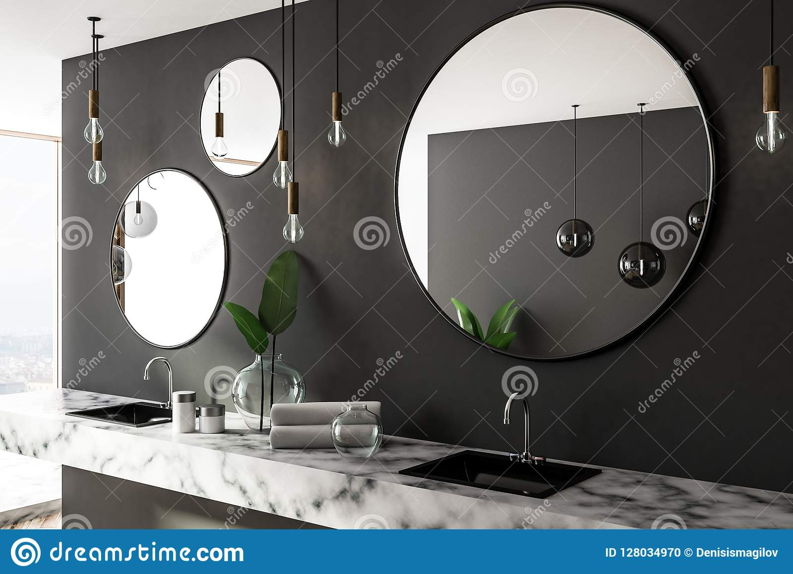 White Marble Bathroom Double Sink And Mirrors Side Stock Illustration Illustration Of Object Interior 128034970