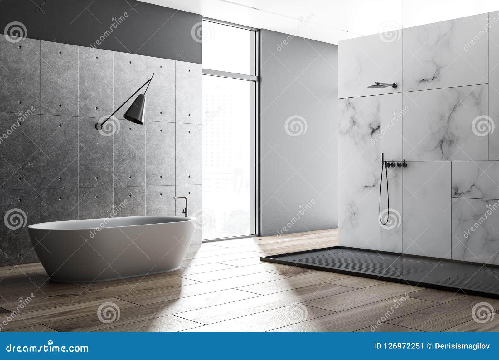 White Marble Loft Bathroom Interior Shower Stock Illustration Illustration Of Render Design 126972251