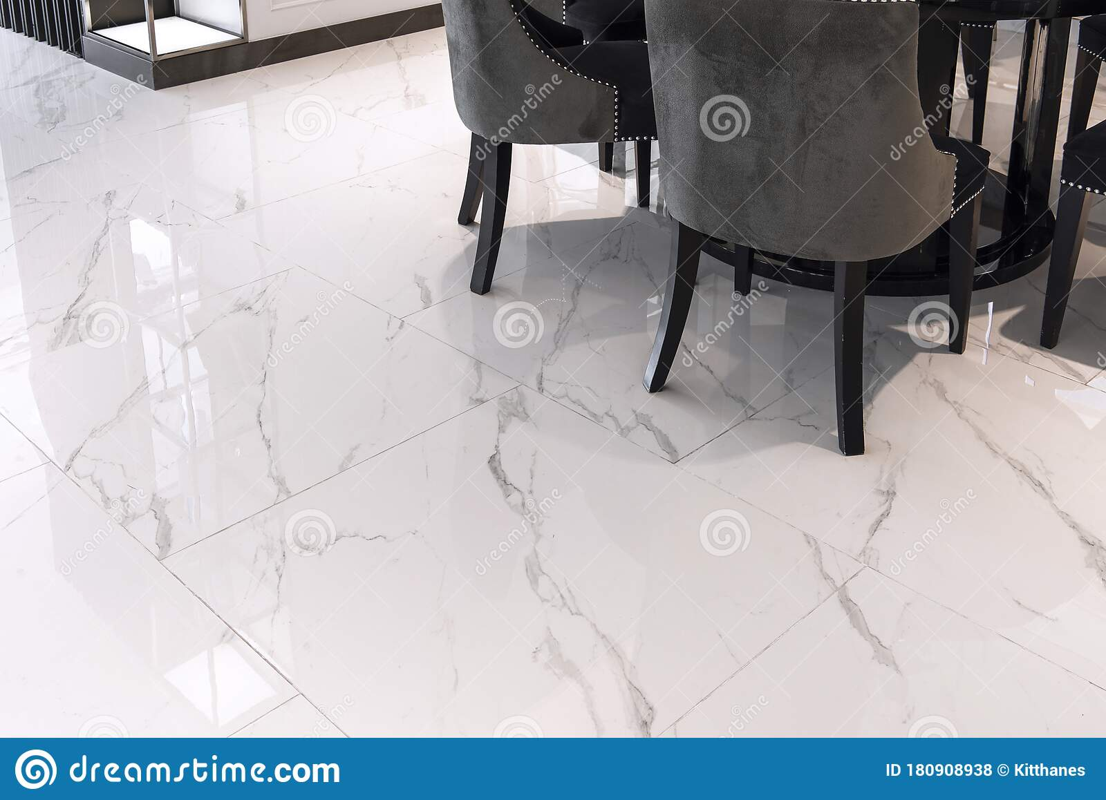 White Marble Floor Tiles In The Living Room Stock Photo Image Of Cabinet Elegance 180908938