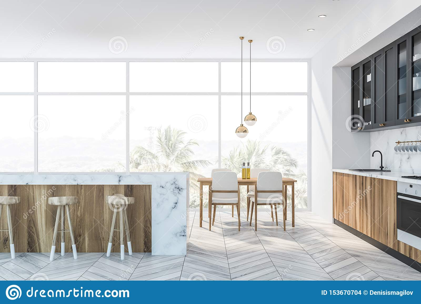 White Marble And Gray Kitchen Bar And Table Stock Illustration Illustration Of Luxury Cabinetry 153670704