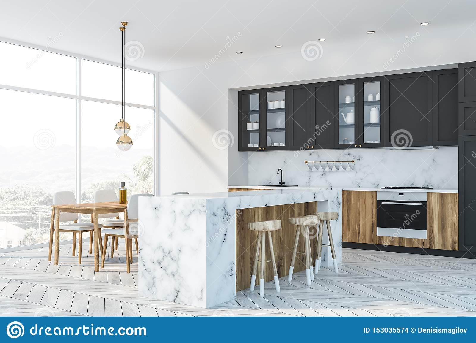 White Marble And Gray Kitchen Corner Bar And Table Stock Illustration Illustration Of Home Apartment 153035574