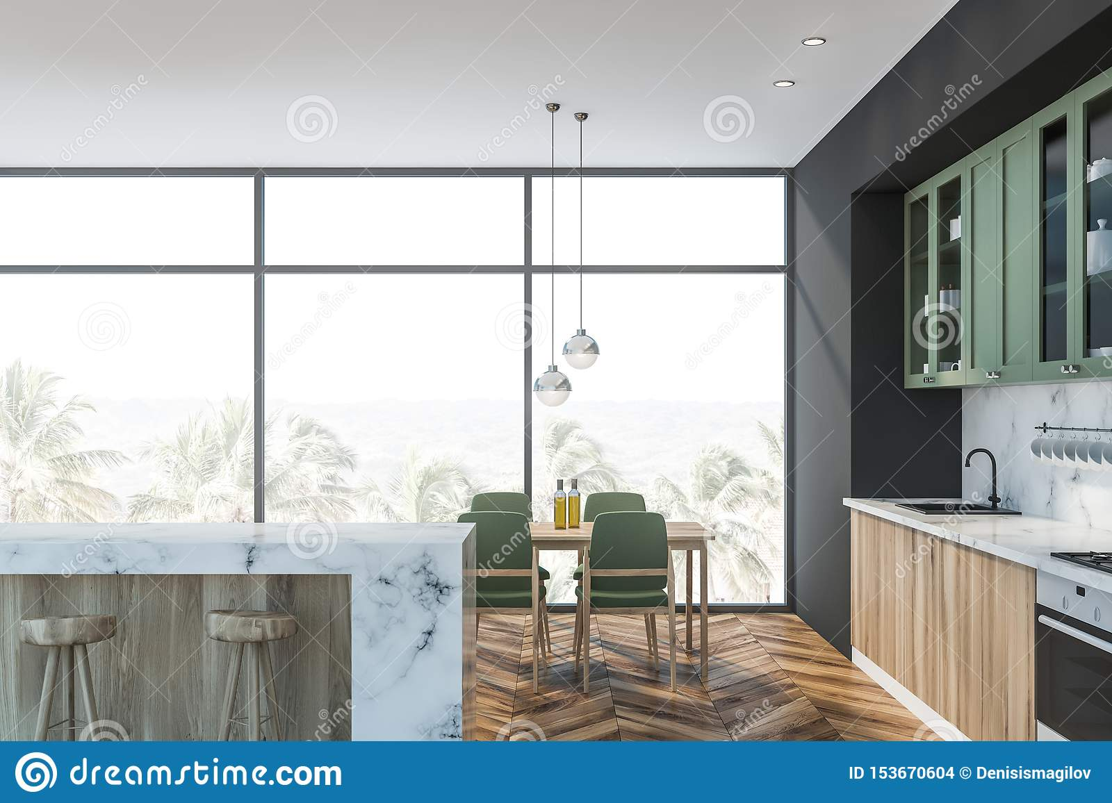 White Marble And Green Kitchen Bar And Table Stock Illustration Illustration Of Marble Kitchen 153670604