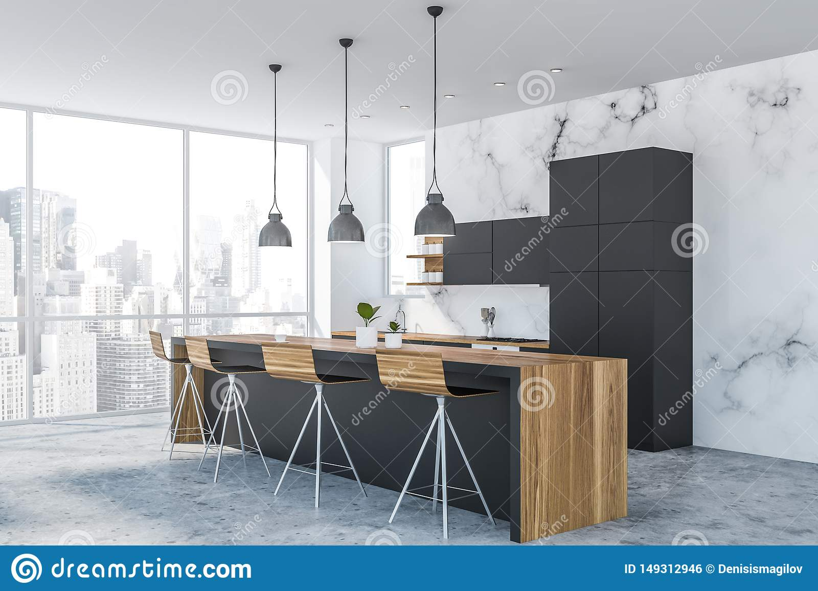 White Marble Kitchen Corner With Bar Stock Illustration Illustration Of Furniture Interior 149312946