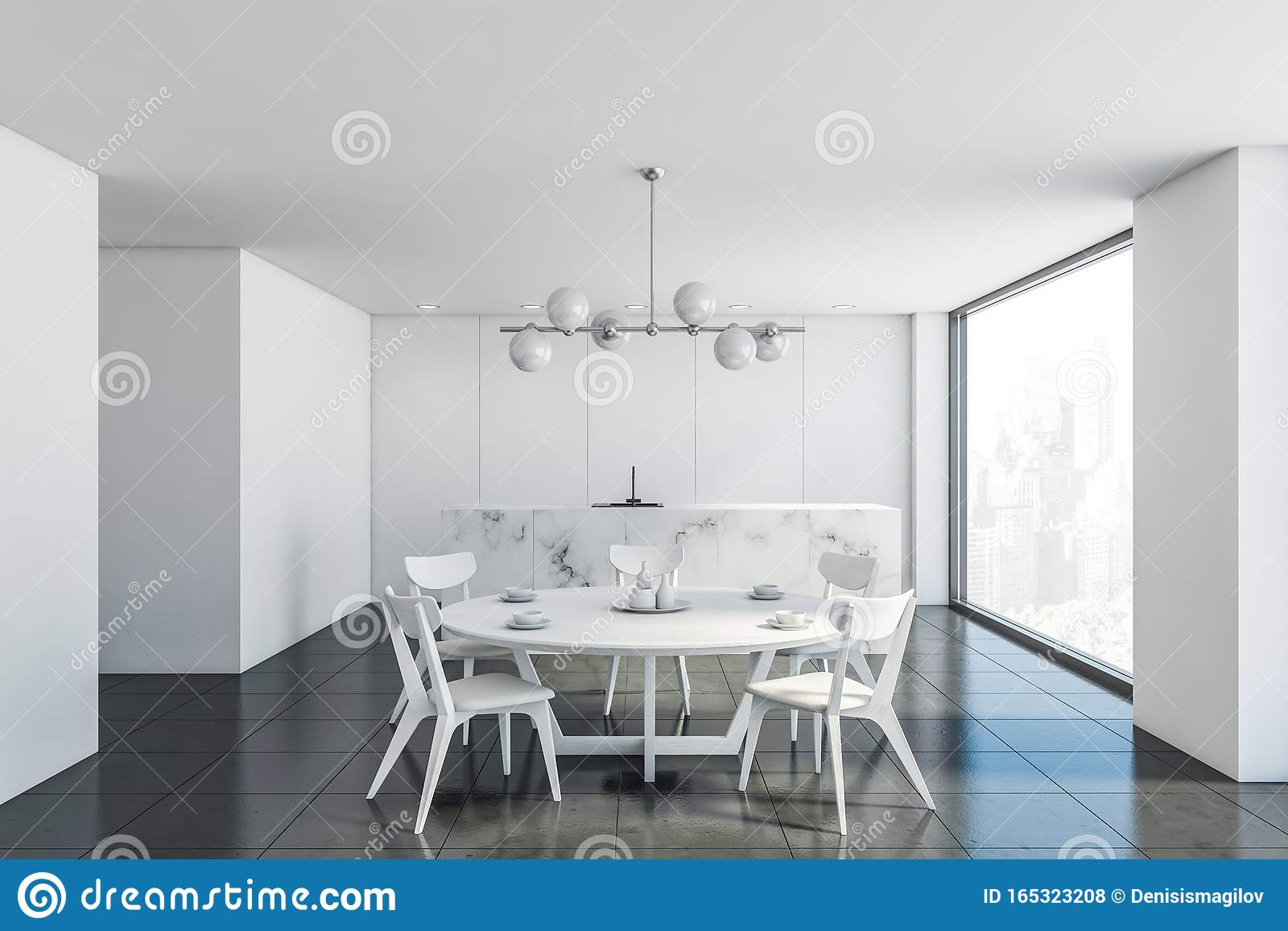 White Marble Kitchen And Dining Room Interior Stock Illustration Illustration Of Decorate Design 165323208