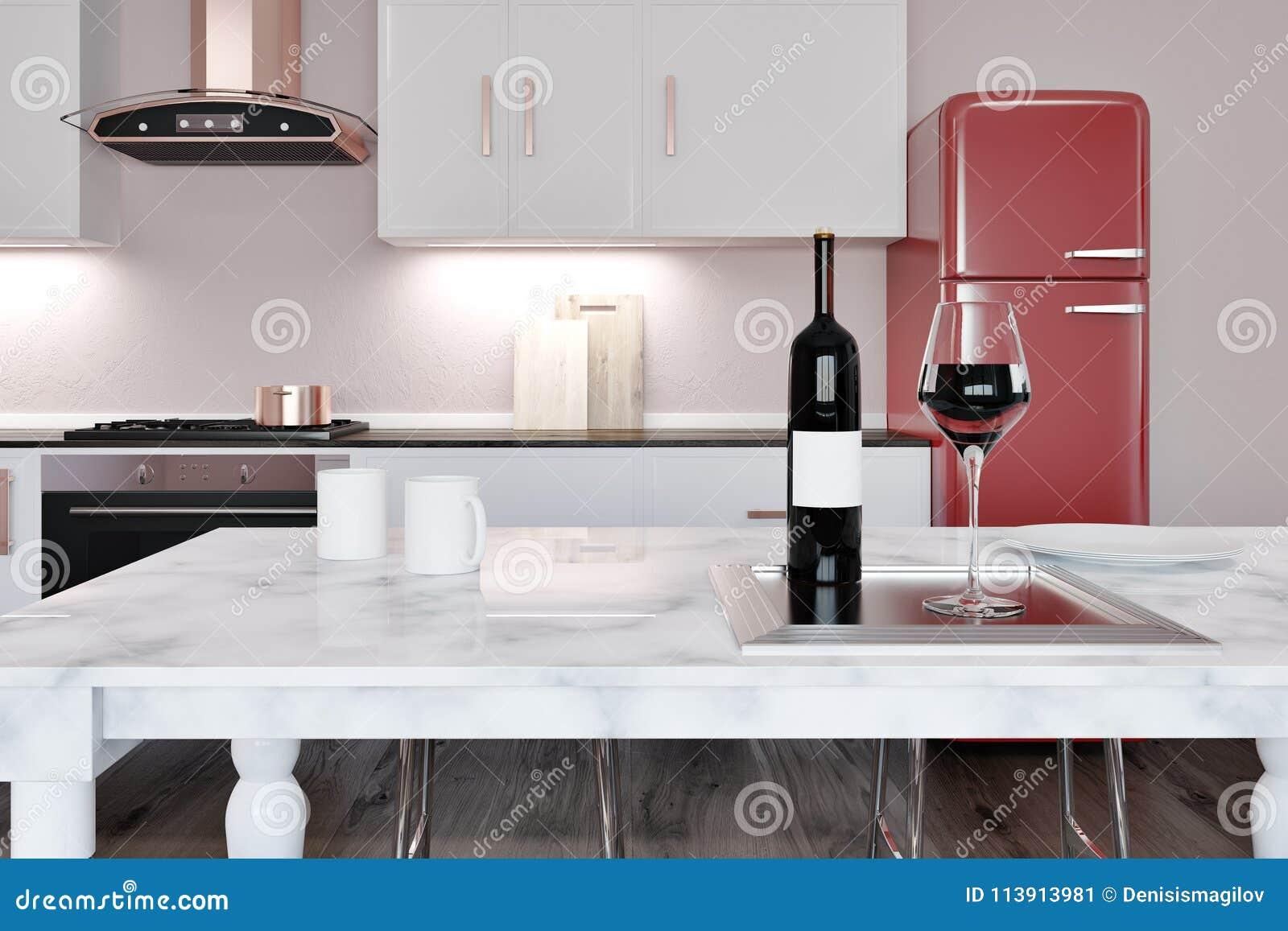White marble kitchen island red fridge