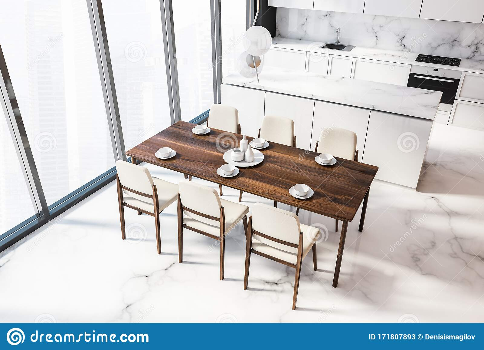 White Marble Kitchen With Table, Top View Stock Illustration ...