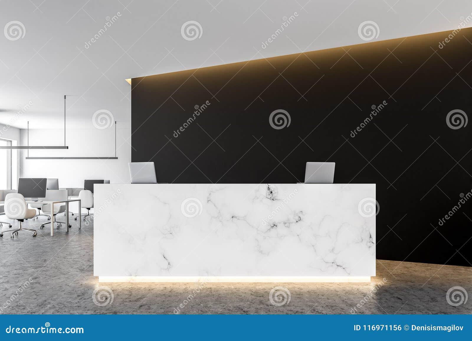 White Marble Office Reception Black Wall Stock Illustration Illustration Of Paper Desk 116971156