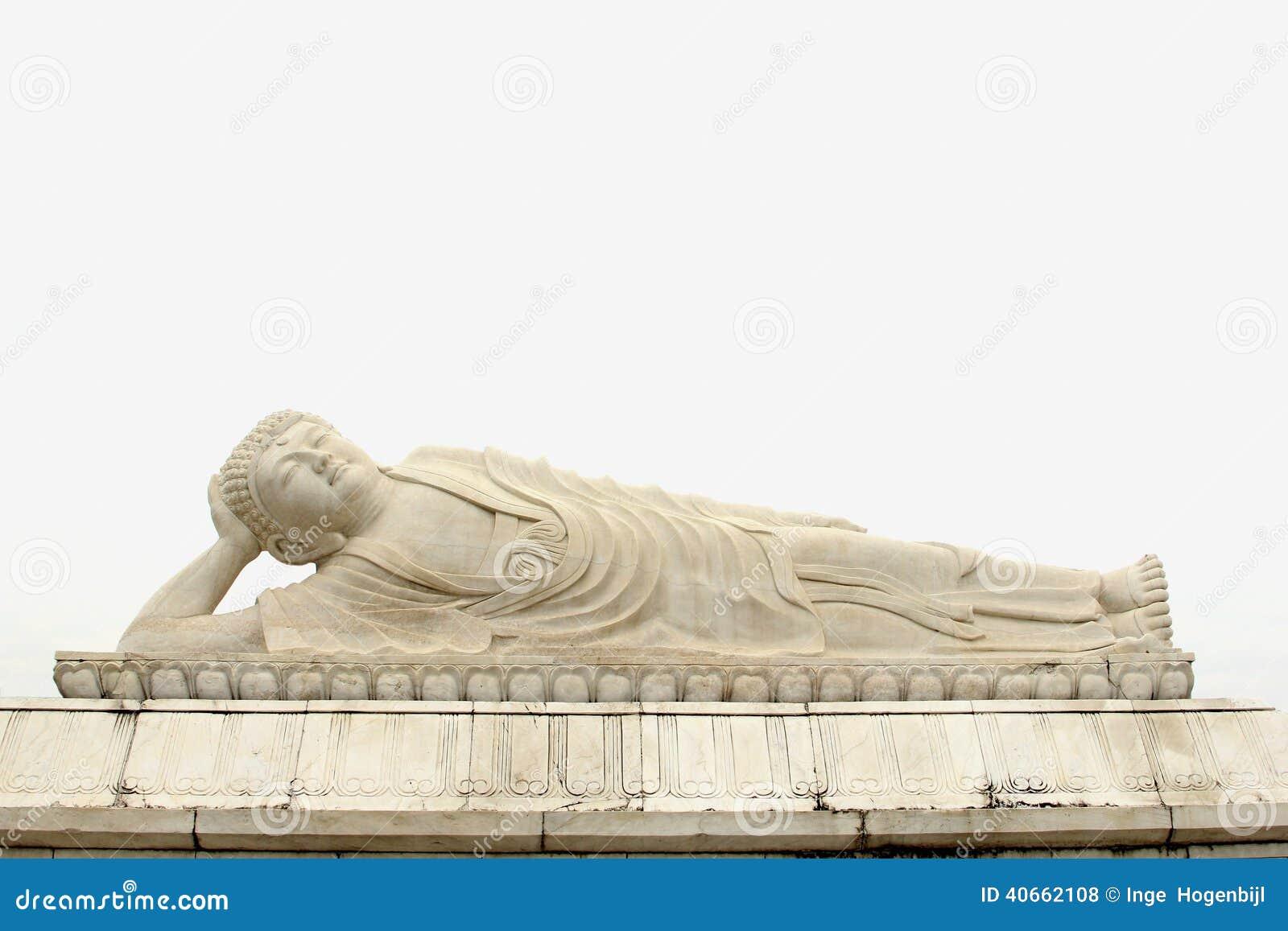 White marble reclining Zen Buddha statue, China