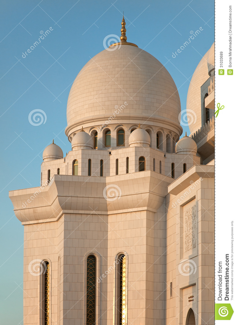 Exterior: White Marble Sheikh Zayed Mosque Of Abu Dhabi Royalty Free