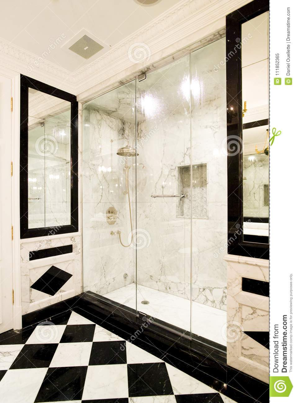 White Marble Shower With Glass Doors Stock Image - Image of bathroom ...