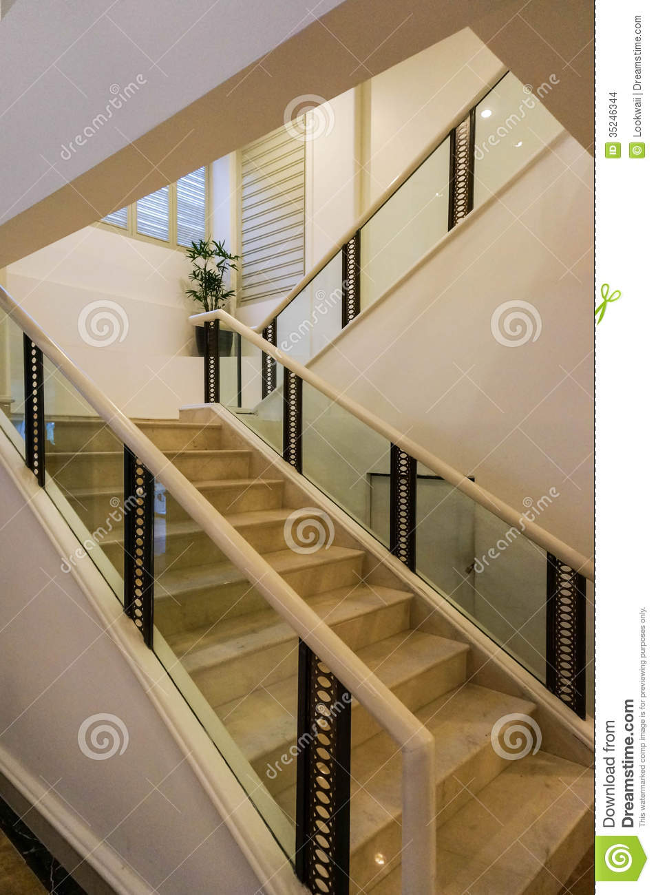 White Marble Stairs And Handrail Stock Photo - Image: 35246344