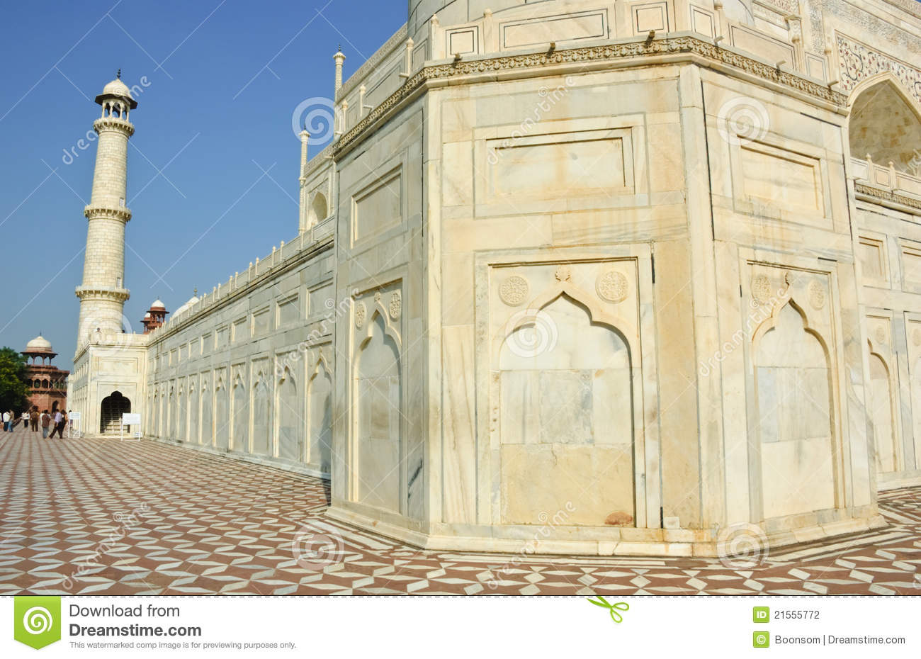 White Marble Taj Mahal India Editorial Photography