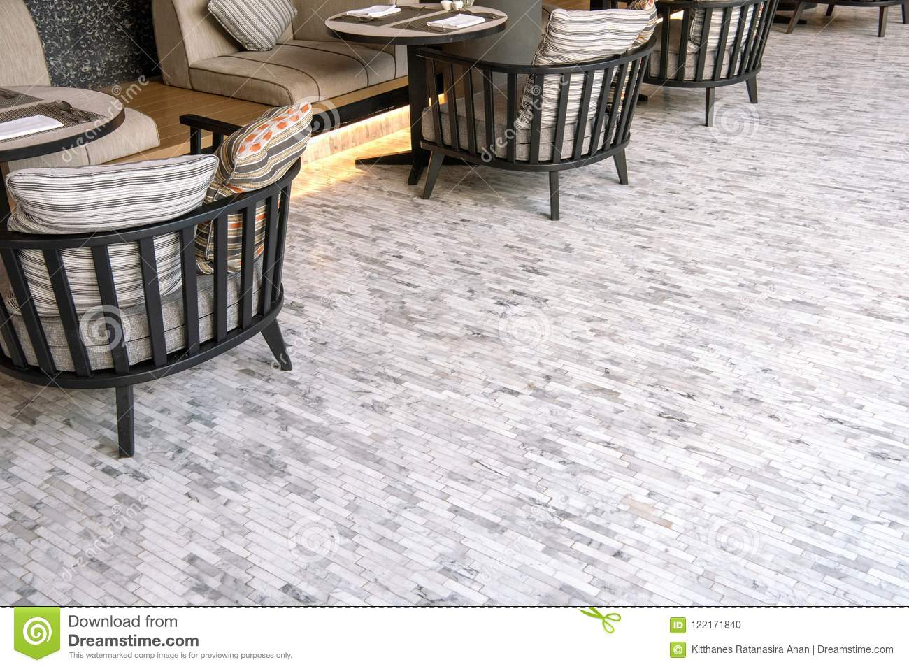 White Marble Tile Flooring Outdoor Living Room Stock Photo Image Of Home Chair 122171840
