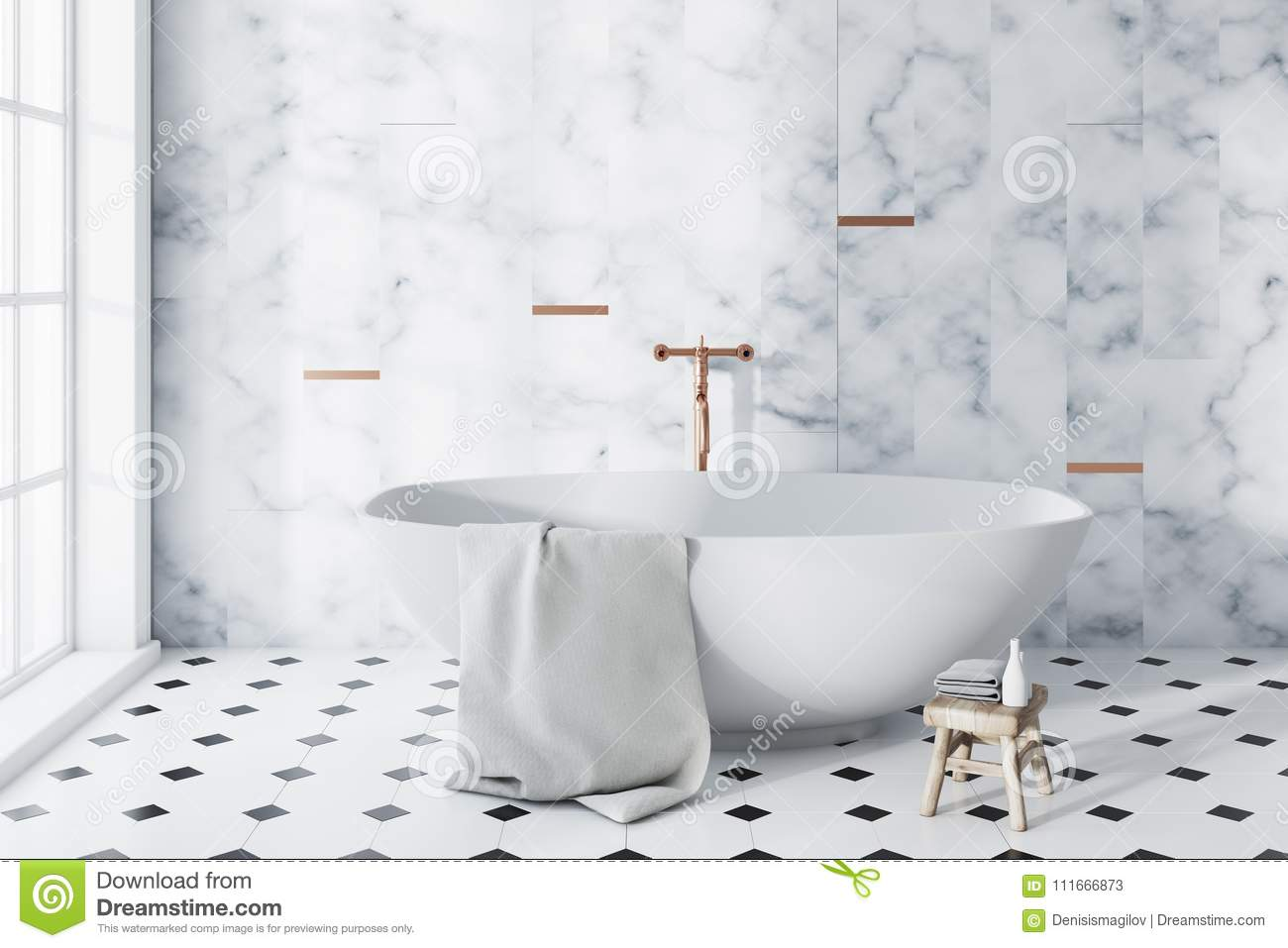 White Marble And Tiled Panoramic Bathroom Stock Illustration Illustration Of Floor Health 111666873