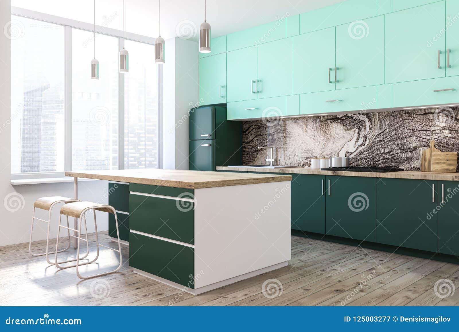 White Kitchen Green Countertops Island Side View Stock Illustration Illustration Of Flat Appliances 125003277