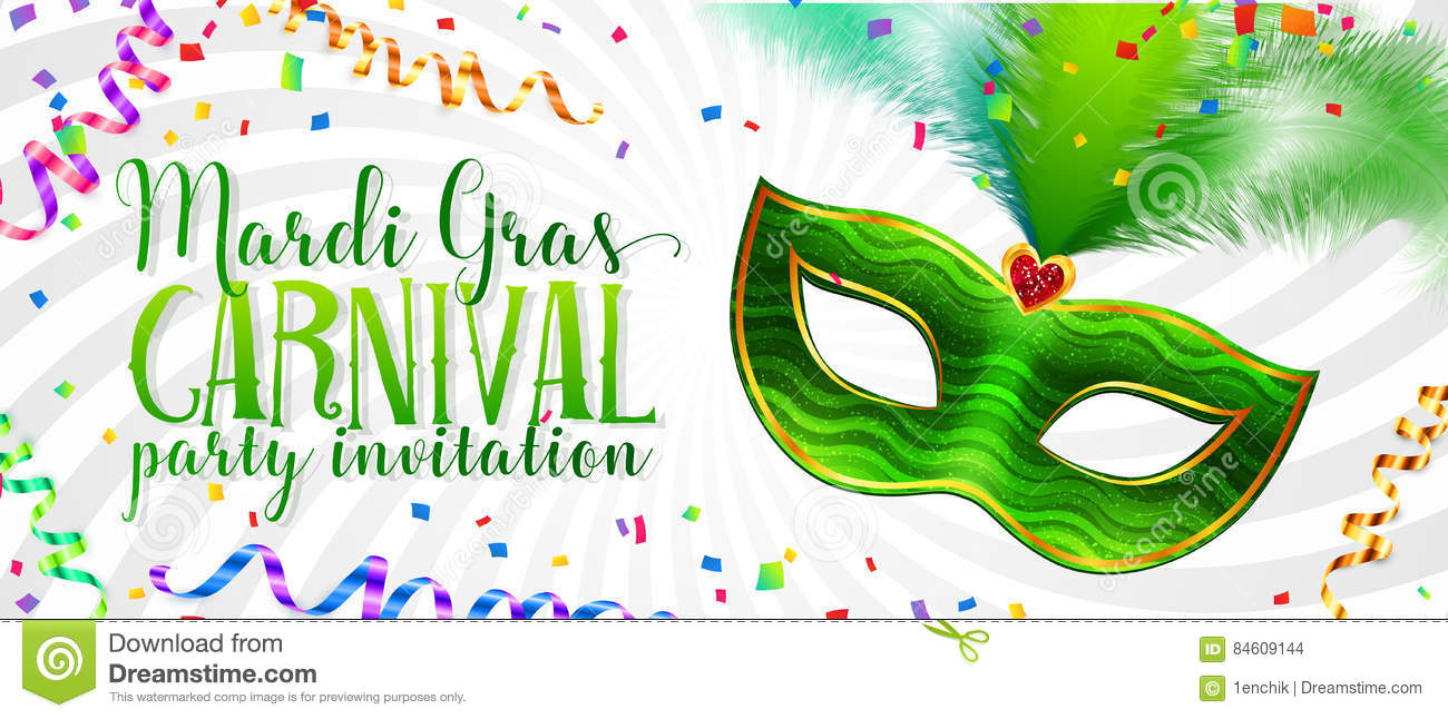 White Mardi Gras invitation card template with green carnival mask with feathers