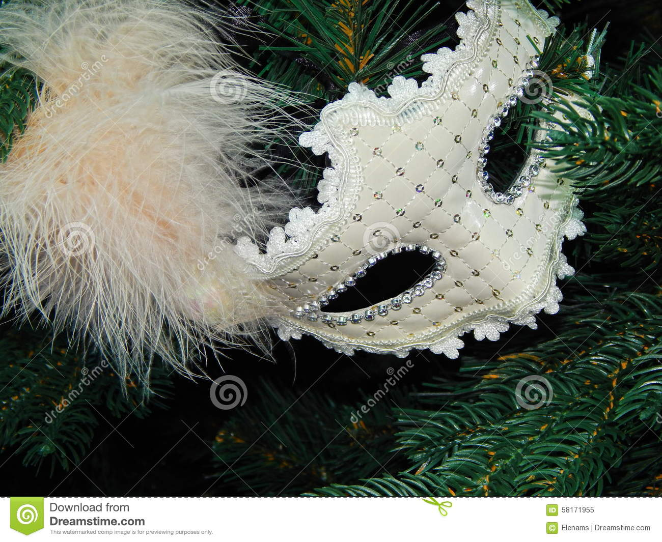 royalty free stock photo download a white mask with a feather in the christmas tree - White Feather Christmas Tree