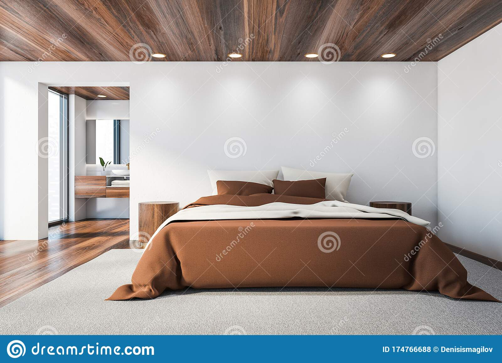 White Master Bedroom And Bathroom Brown Bed Stock Illustration Illustration Of House Lifestyle 174766688